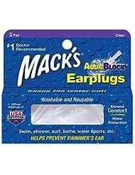 Mack's AV004 Aqua Block Bouchons d'oreilles Clear