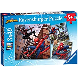 Ravensburger Juego de 3 Puzzles con el Personaje de Marvel; El Hombre Araña de la Marca, Tres Rompecabezas, Cada uno Tiene 49 Piezas