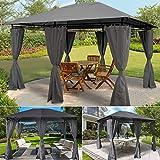 IDMarket Tonnelle de jardin Gloria rideaux gris 3x4x2,58 m
