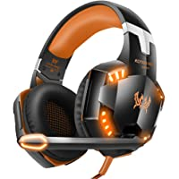 VersionTECH. Gaming headset for PS4 Xbox One PC Headphones with Microphone LED Light Noise Cancellation Over Ear Compatible with Nintendo Switch Games Laptop Mac Orange