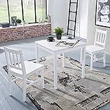 Wohnling Esszimmer-Set Emil 3 teilig Kiefer-Holz weiß Landhaus-Stil 70 x 73 x 70 cm | Natur Essgruppe 1 Tisch 2 Stühle | Tischgruppe Esstischset 2 Personen | Esszimmergarnitur massiv