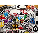 10 assorted skateboard stickers.