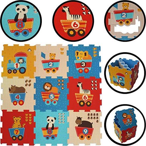 SET (19- teilig) Puzzlematte / Kinder Spielteppich EISENBAHN-ZOO mit Zahlen (1-9) BUNT Puzzle