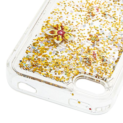 Housse iPhone 4/4S OuDu Étui en Glitter Silicone [Housse de Flottant] Coque Transparente Flexible Mince **NEW** Housse Sable Mouvant Bling Étui TPU de Haute Qualité Housse Souple de Protection Coque L Fleur D'or