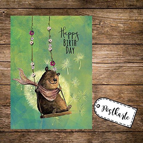 ilka parey wandtattoo-welt A6 Geburtstagskarte Postkarte Print Bär auf Schaukel mit Spruch Happy Birthday pk165