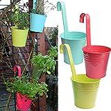 3er Set Hängetöpfe Zink Balkon Blumentopf hängend Balkontopf Pflanztopf zum hängen aus Metall in verschiedenen Sommerfarben (3 x bunt)