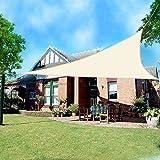 Greenbay Triangle Anti-UV Sun Shade Sail Outdoor Patio Party Sunscreen Canopy Sunsail 5x5x5m Cream