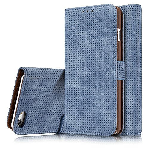 Retro Matte Breatheable Air-Mesh PU-Leder Folio Stand Brieftasche Beutel Case Cover mit Kickstand Card Slots für iPhone 6 Plus und 6s Plus ( Color : Blue ) Blue