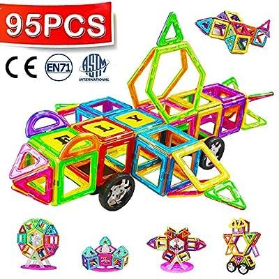 Crenova Bloc de Construction Magnétique,Grande Taille (95 Pièces), Jouet de Construction Educatif et Créatif,Cadeau pour Les Petits