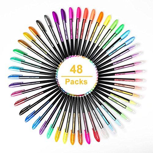 48 Colores Bolígrafos de Gel para colorear adultos - Incluye purpurina, metálico, neón y clásicos - Para scrapbooking, colorear, dibujar y artesanal by Mutsataz