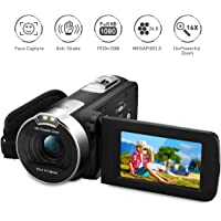 """PRIKIM Caméscope 1080P 24MP 16X Zoom Numérique Caméra Vidéo Portatif avec 2.7"""" TFT LCD 270 Degrés de Rotation, Noir Enregistrer de Beaux Moments"""