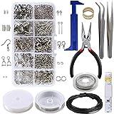 ManYee Kit Creazione Gioielli Principiante I Kit di Accessori di Gioielli Include Pinza, Pinzette, Metro A nastro,DIY per artigianato,come collane, orecchini, bracciali e altro,argento