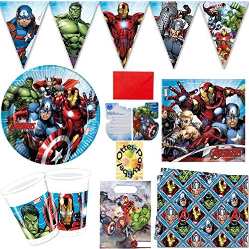 HHO Avengers Power Partyset 52 Teile Teller Becher Servietten Tischdecke Einladung Wimpel Tüten für 6 Gäste
