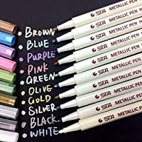 Prochive Metallic Marker Pens Set of 10 Vibrant Color Art Paint Marker for Crafts Photo Scrapbook Album Glass Plastic Pottery