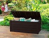 Keter Brightwood Outdoor Plastic Storage Box Garden Furniture, 145 x 69.7 x 60.3 cm - Brown