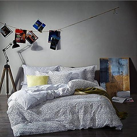 Parure de lit coton 4 sets de housses de couettes 200x230cm + dessus de lit + taie d'oreiller le dessin des embruns impression double face