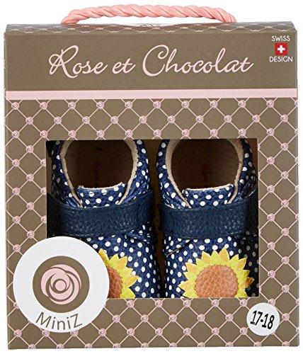 Rose & Chocolat Baby Mädchen Polka Sunflower Krabbel-& Hausschuhe Blau (Navy)