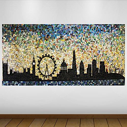 EXTRA GRANDE Negro Mosaic City de Londres Vinilo Póster - Mural Decoración - etiqueta de la pared -140cm x 70cm