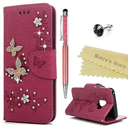 S9 Hülle Case Mavis\'s Diary Handyhülle Samsung Galaxy S9 Glitzer Strass Schmetterling Leder Tasche Flipcase Cover Schutzhülle Skin Ständer Schale Bumper Magnetverschluss Ledertasche Handtasche-Roserot