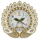 #6: CBS Plastic CBS Analog Peacock Wall Clock (Gold, 30 cm x 4 cm x 30 cm)