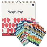 Family Weekly Planner calendario di famiglia 2018-2019 Boxclever Press con set di adesivi promemoria (1152 tot). Calendario settimanale con 6 colonne. Da metà Agosto 2018 a Dicembre 2019. IN INGLESE