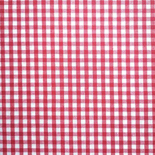 Staab's tessuto decorativo in cotone rivestito a quadretti, rosso e bianco (al metro, qualità da cucire), rosso/bianco, 200 x 140 cm