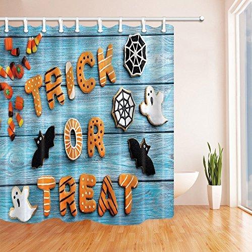 GoHEBE - Ganchos para cortina de ducha de Halloween, decoración para trampas o tratamientos y fantasmas en color turquesa de madera, tela de poliéster, impermeables, para baño, baño, cortina de ducha, incluye ganchos para cortina de ducha, 182,88 x 182,88 cm