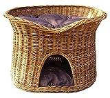 Floranica® - L oder XL Katzenkorb / Katzenbett / Katzenliege / Katzenbaum / Kuschelhöhle aus Weide mit oder ohne Kissen (wählbar), Kissenfarbe:dunkle Kissen, Größe:XL (B 70cm T 50cm H 50cm)