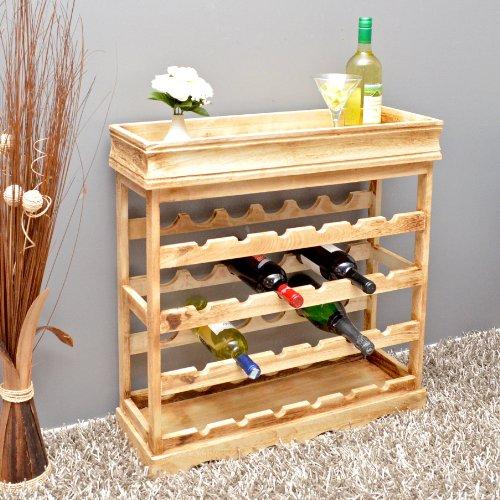 Weinregal Hellbraun Shabby Look 24 Flaschen Flaschenregal Holz Wein Regal Board