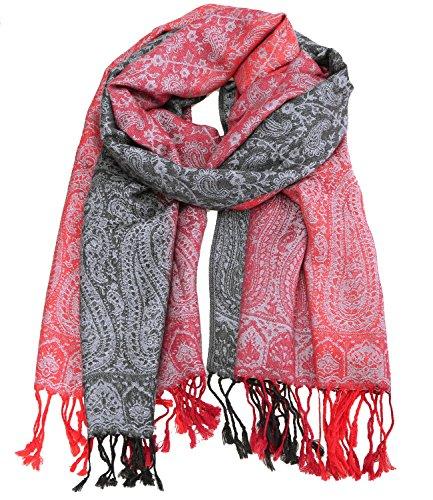 schwarz groß Trend Neu Loop Tuch Schal Paisley Blumen pink blau