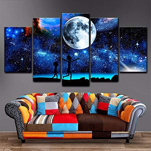 Cczxfcc Leinwand Gemälde Wohnkultur 5 Stücke Rick Und Morty Bilder Gedruckt Sternenhimmel Mond Poster Für Wohnzimmer Wandkunst Rahmen-40X60/80/100Cm-No Frame