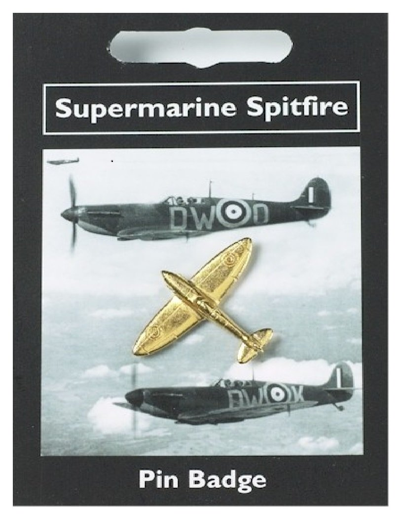 Spitfire Pin Badge — Gold Plated Fine English Pewter