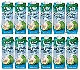 [ 12x 1 Liter ] YACO Kokosnusswasser 100% / Kokoswasser Coconut Water 100% Natural + ein kleines Glückspüppchen - Holzpüppchen