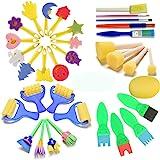 FUQUN Éponges de Peinture pour Enfants, Early Learning Enfants Art & Craft 34 Pièces Peinture pour Enfants Kits Early DIY App