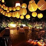 Qedertek Guirlande Solaire Extérieure 6M 30 LED Guirlande Lumineuse Lanterne Blanc Chaud avec 2 Modes & IP65 Imperméable Lampe Decorative Idéal pour Jardin d'été, Terrasse, Balcon, Mariage