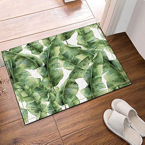 Palm Blätter Teppich (gohebe Tropic Plant Watercolor Banana Palm Blätter Bad Teppiche rutschhemmend Boden Eingänge Outdoor Innen vorne Fußmatte 39,9x59,9cm Badvorleger Badematte Bad Teppiche)