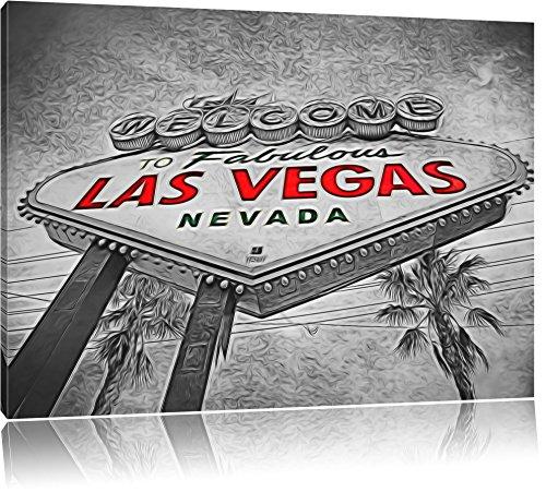 altes Ortseingangsschild Las Vegas Format: 80x60 auf Leinwand, XXL riesige Bilder fertig gerahmt mit Keilrahmen, Kunstdruck auf Wandbild mit Rahmen, günstiger als Gemälde oder Ölbild, kein Poster oder Plakat