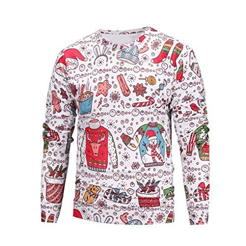 VENMO Unisex Paare Liebhaber Christmas Print Sweatshirt Pulli Jacke Winterjacke Lose Bluse Tops Shirt Hoodie Sweatjacke MäNner Winter DüNnen Warme Sweatshirt Hoodie Kapuzenpullover (M, Multicolor)