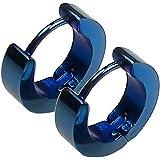 Tumundo® 1 paio di orecchini a cerchio orecchini a cerchio in acciaio inossidabile orecchini huggie blu donna uomo