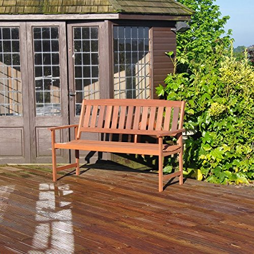 Kingfisher 3 Seater Hardwood Garden Patio Bench