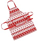 Nordic Snowflake And Reindeer Red And White Christmas Apron - (23in x 31in-60cm x 80cms Approx)