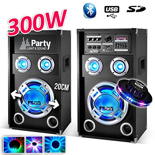 Pack Karaoke 2altavoces de LEDs 8pulgadas/20cm 300W Bluetooth/USB/SD–partysound Karaoke + efecto OVNI...