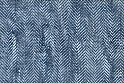 Blau/Weiß 100% Flachs Leinen Stoff Meterware–Breite 150cm (149,9cm)–205GSM Textil–Fischgrät (Plaid Leinen Kleid)