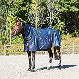 Preiswerte einfache Pferde Regendecke mit Halsteil Größe 115 - 165, Groesse:115;Farbe:blau