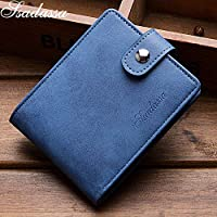 ACDGS Creative PU Leather Wallets short paragraph document business card pack of cards sets of business cards photo card bit packet (Color : Blue, Size : One size)