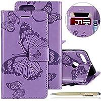 Herbests Leder Handy Schutzhülle für Xiaomi Mi 5X / Mi A1 Lederhülle Schmetterling Muster Leder Handyhülle Handytasche Brieftasche Ledertasche Bookstyle Flip Case Cover Klapphülle,lila