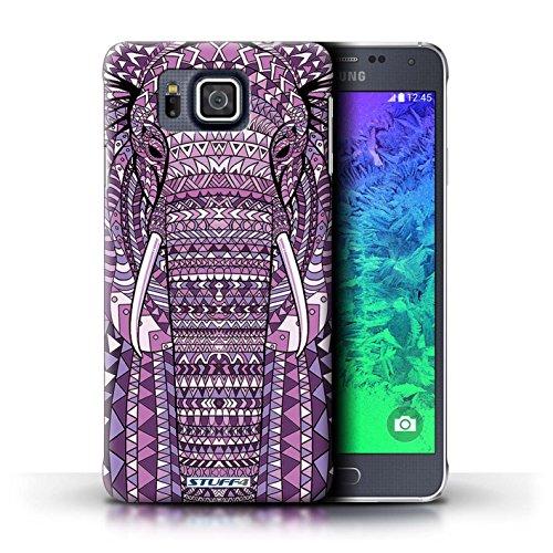 Kobalt® Imprimé Etui / Coque pour Samsung Galaxy Alpha / Loup-Rouge conception / Série Motif Animaux Aztec éléphant-Pourpre