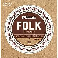D'Addario Cordes en nylon pour guitare folk D'Addario EJ32, extrémité à boule, filet en argent/cordes aiguës en nylon noir