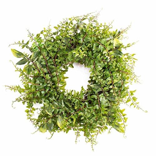artplants Künstlicher Kranz Friedrich mit Streifenfarn, grün, Ø 30 cm - Kunst Grundkranz
