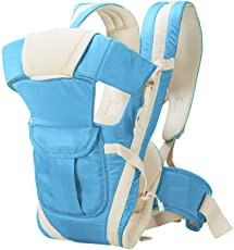 GTC Adjustable Hands-Free 4-In-1 Baby Carrier Bagwith Comfortable Head Support & Buckle Straps With Waist Belt (Sky Blue)
